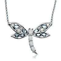 Lab-Created Opal & Blue Topaz Dragonfly Necklace in Sterling Silver