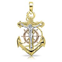 Endura Gold® Polished Tricolor Crucifix & Anchor in 14K Gold
