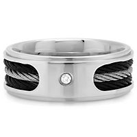 Men's Diamond Cable Band in Stainless Steel, 8MM