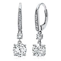 Lab-Created White Sapphire Dangle Earrings in Sterling Silver