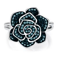 1/4 ct. tw. Blue Diamond Flower Ring in Sterling Silver