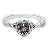 1/7 ct. tw. Sparkling Champagne® & White Diamond Heart Ring in Sterling Silver & 10K Rose Gold