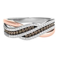 1/3 ct. tw. Sparkling Champagne® & White Diamond Ring in Sterling Silver & 10K Rose Gold
