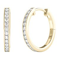 1/4 ct. tw. Diamond Hoop Earrings in 10K Yellow Gold