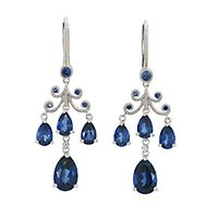Lab-Created Blue & White Sapphire Chandelier Earrings in Sterling Silver