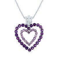 Amethyst & Rose de France Double Heart Pendant in Sterling Silver