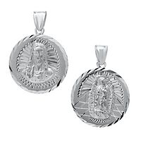Roberto Martinez Guadalupe & Sacred Heart Charm in Sterling Silver