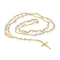 Roberto Martinez White Topaz Rosary Necklace in 10K Yellow Gold