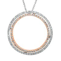 Circle of Love® 1/2 ct. tw. Diamond Pendant in Sterling Silver & 10K Rose Gold