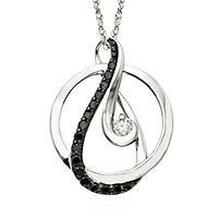 Circle of Love® 1/5 ct. tw. Black & White Diamond Pendant in Sterling Silver