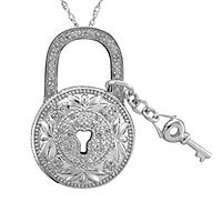 1/10 ct. tw. Diamond Lock & Key Pendant in Sterling Silver