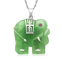 Jade Elephant Pendant in Sterling Silver