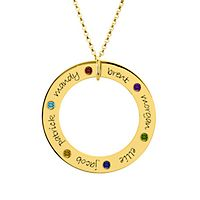 Posh Mommy Engravable Forever Loop Pendant with 6 Birthstones in Gold over Sterling Silver