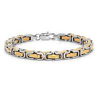 Men's Two-Tone Byzantine Link Bracelet in Stainless Steel