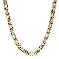 Men's Two-Tone Byzantine Link Chain in Stainless Steel, 24