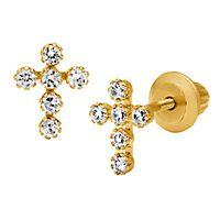 Children's Cubic Zirconia Cross Earrings in 14K Yellow Gold