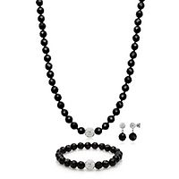 Onyx Necklace, Bracelet & Earring Set in Sterling Silver
