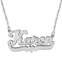 Double Nameplate Pendant in Sterling Silver