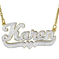 Double Nameplate Necklace in 24K Yellow Gold over Sterling Silver