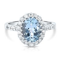 Aquamarine & 1/2 ct. tw. Diamond Halo Ring in 14K White Gold