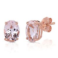 Morganite Stud Earrings in 14K Rose Gold