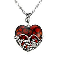 Marcasite & Garnet Glass Heart Pendant in Sterling Silver