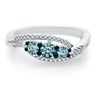 1/2 ct. tw. Blue & White Diamond Three-Stone Ring in Sterling Silver