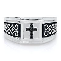 Men's Black Diamond Cross Ring in Sterling Silver