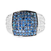 Men's 1 ct. tw. Blue Diamond Ring in Sterling Silver