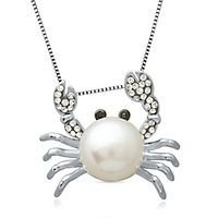 Freshwater Cultured Pearl & Crystal Crab Pendant in Sterling Silver