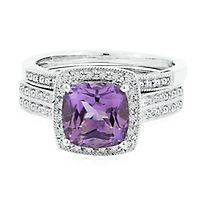 Amethyst & 1/4 ct. tw. Diamond Engagement Ring Set in 10K White Gold