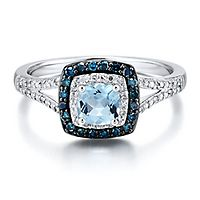 Aquamarine & 1/4 ct. tw. White & Blue Diamond Ring in 10K White Gold