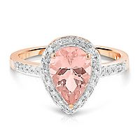 Morganite & Diamond Halo Ring in 14K Rose Gold