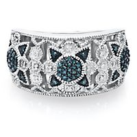 1/7 ct. tw. Blue Diamond Starburst Ring in Sterling Silver