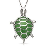 Teardrop Jade Turtle Pendant in Sterling Silver