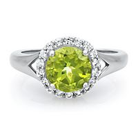 Peridot & Lab-Created White Sapphire Halo Ring in Sterling Silver
