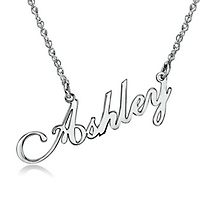 Script Nameplate Pendant in Sterling Silver