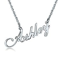 Script Nameplate Pendant in 10K White Gold