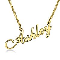 Script Nameplate Pendant in 10K Yellow Gold