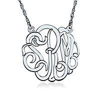 Medium Monogram Necklace in 10K White Gold