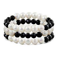 Freshwater Cultured Pearl & Onyx Stretch Bracelet Set