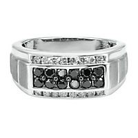 Men's 1 ct. tw. Black & White Diamond Ring in Sterling Silver