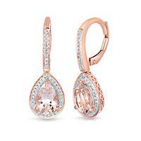 Morganite & 1/5 ct. tw. Diamond Teardrop Earrings in 14K Rose Gold
