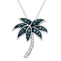 1/8 ct. tw. Blue & White Diamond Palm Tree Pendant in Sterling Silver