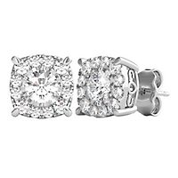 1 ct. tw. Diamond Illusion Halo Stud Earrings in 10K White Gold