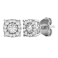 1/4 ct. tw. Diamond Illusion Halo Stud Earrings in 10K White Gold