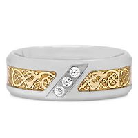 Men's 1/10 ct. tw. Diamond Two-Tone Band in Stainless Steel, 8MM
