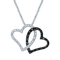 1/7 ct. tw. Black & White Diamond Double Heart Pendant in Sterling Silver