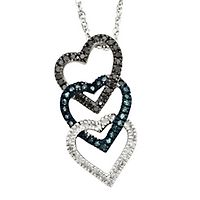 1/4 ct. tw. Blue, Black & White Diamond Triple Heart Pendant in Sterling Silver