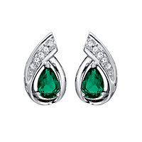 Lab-Created Emerald & White Sapphire Earrings in Sterling Silver